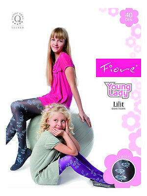 New Girls Lilit Young Lady 40 Denier Patterned Tights S,M,L - Fiore