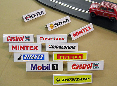 SLOT CAR SCALEXTRIC 1/32nd scale TRACK SIDE SPONSOR SIGNS double sided 12 pack!