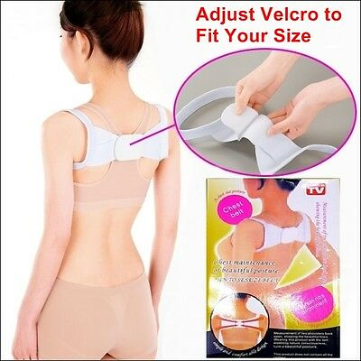 Adjustable Therapy Back Support Brace Belt Band Posture Shoulder Corrector Spine