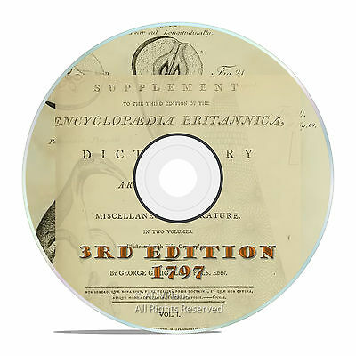 1797 ENCYCLOPEDIA BRITANNICA, 3rd edition DVD antique reference book in PDF