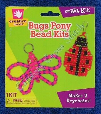 Pony Bead Kit Bugs Butterfly Ladybug Lady Bird Keychain Makes 2 Kids & Adults