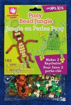 Pony Bead Kit Jungle Frog Monkey or Lizard Keychain Makes 2 Kids & Adults