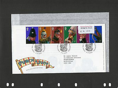 GB 2001 FDC Punch and Judy Show Puppets Blackpool postmark stamps
