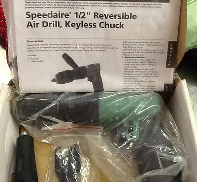"Speedaire 2YPR5 1/2"" Reversible Air Drill, Keyless Chuck"