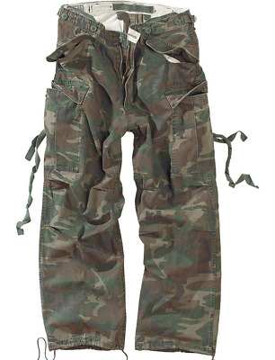 Surplus Premium Vintage Trousers Army Cargo Pants Mens Work Combats Washed Camo