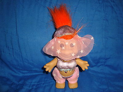 "Russ Troll Genie in pink outfit w/ orange Hair 4.25"" Tall"