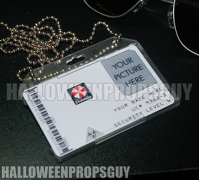 RESIDENT EVIL UMBRELLA CORPORATION CUSTOMIZEABLE PVC ID Card Prop Badge CUSTOM