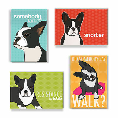 Boston Terrier Gifts Set of Four Refrigerator Magnets with Funny Sayings