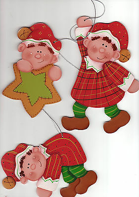 PAINTED...Set of 8  Elves for the Xmas Tree