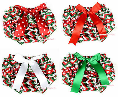 XMAS Red White Green Wave Stripes Christmas Baby Bloomer Pantie with Bow 6M-3Y