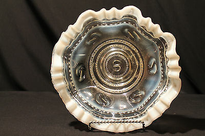 Jefferson Glass Opalescent Ruffled Edged Footed Bowl in the Astro Pattern