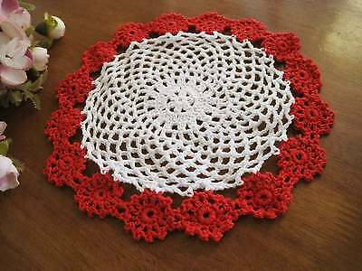 Chic Red Flower Hand Crochet Cotton Doily B