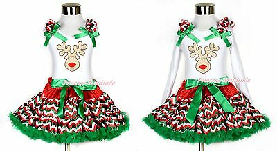 XMAS Reindeer White Top Red White Green Wave Stripes Girl Pettiskirt Set 1-8Year
