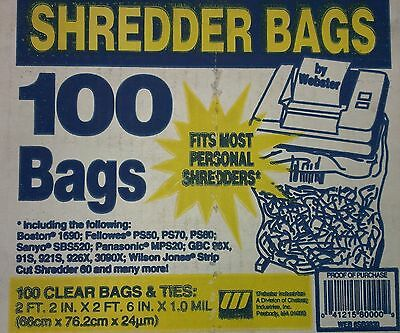 Webster Industries Shredder Bags, 100ct With Ties, Clear 6SB2630