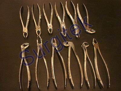 Set of 12 Dental Extraction Forceps Fig.1,3,7,13,17,18,22,51a,67,73,79,86 CE