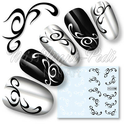 Nail Art Water Transfers Decals Stickers Black & White Tribal Gothic Swirls H049