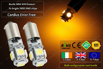 2x Amber CanBus LED No Error Free BAX9S H6W 434 Side Repeater Indicators Bulbs