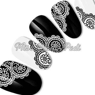 Nail Art Water Transfers Decals Stickers Black & White Flower Lace Mehndi S040
