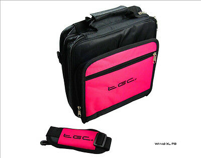 "Hot Pink & Black Twin Pocket Case Bag for Nextbase NB48AM Twin 7"" DVD Player"