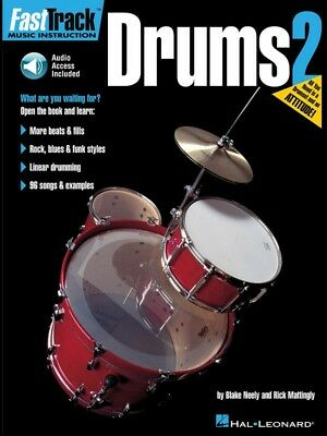 New Fasttrack Drums 2 Book & CD - Fast Track Music Book