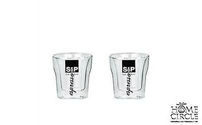 S&p Barist Double Wall Set Of 2 Espresso Glasses With Handle 90 Ml