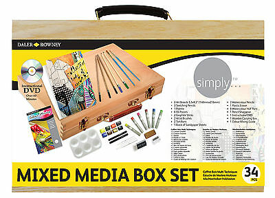Daler Rowney Simply Mixed Media Wooden Box 32 Set - Watercolour, Pastel, Pencils