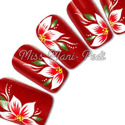 Nail Art Water Transfers Decals Red White Yellow Tropical Flowers Floral G131