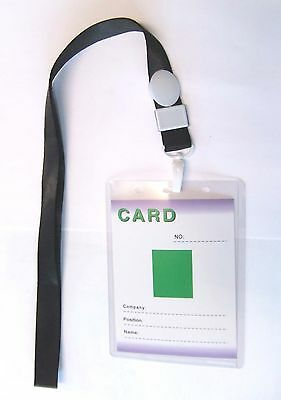 PORTE BADGE grand format avec lanyard CORDON TOUR de COU NOIR /CARTE/