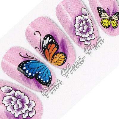 Purple Flowers & Butterflies Nail Decals, Water Decals Nail Stickers Flower K195