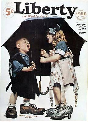 LIBERTY MAGAZINE COVER PRINT (1930) LESLIE THRASHER SINGING IN THE RAIN 1970's