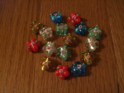 LAMPWORK mixed flower shape glass beads with rose pack of 15 16mm (A19)
