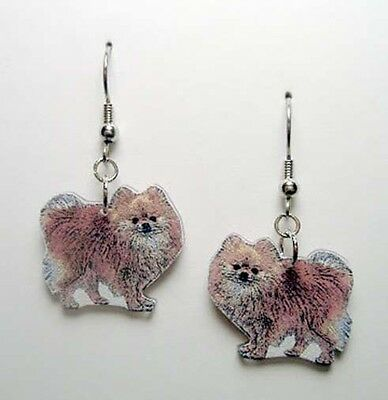 Pomeranian Dangle Earrings Handcrafted Plastic Made in USA