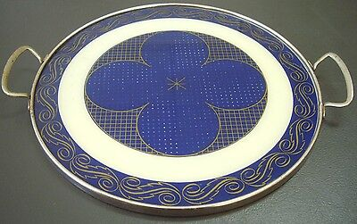Vintage German Made Beer Tray Blue & Ivory Clubs Casino Cards Chrome Retro Bar