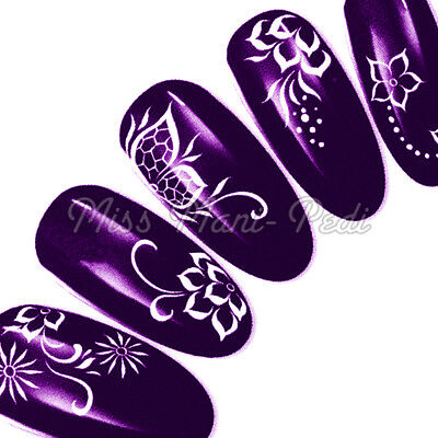 Nail Art Water Transfers Decals Stickers Wraps White Flowers Butterflies Y026A