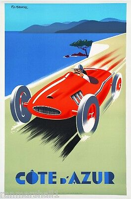 1930s Cote D' Azur France French Automobile Race Racing Art Poster Advertisement