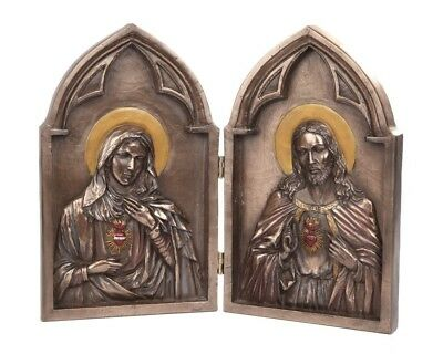 Sacred Heart of Jesus and Mary Diptych Bronze Color Statue Religious Figurine