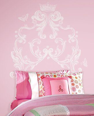 New White SCROLL HEADBOARD WALL DECALS Girls Bedroom Stickers Baby Nursery Decor