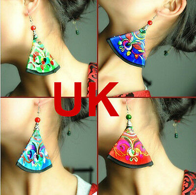 Chinese Handcrafted Embroidery Fan Shaped Dangle Earrings UK
