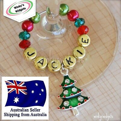 Deluxe Christmas Wine Glass Charm Personalised - Table place card decoration