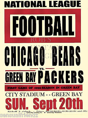 Chicago Bears Vs Green Bay Packers  Poster 1936 NFL Vintage NFL Football  print
