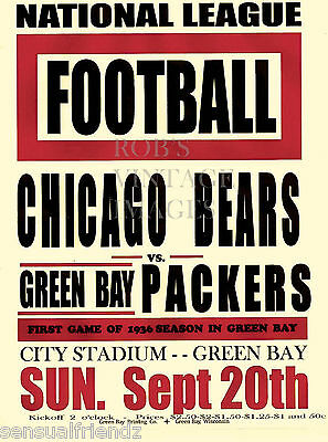 Chicago Bears Vs Green Bay Packers  NFL Poster 1936 Vintage Football print 13x19
