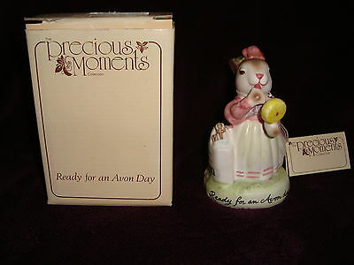 """Precious Moments Ready for an Avon Day Exclusive Bunny Figure w/ box 5"""" tall"""