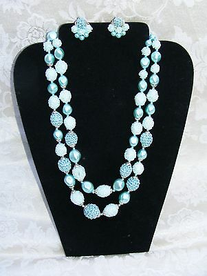 TURQUOISE COLOR VINTAGE 2-STRAND NECKLACE w/MATCHING EARRINGS- MARKED: JAPAN