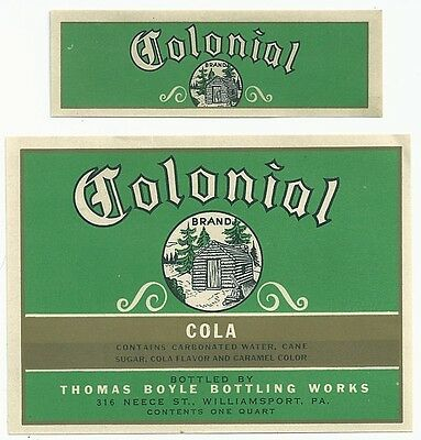 1930's Colonial Cola Label - Williamsport, PA