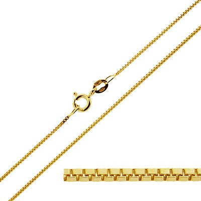 "9ct Solid Yellow Gold 16 18 20 22 24 26 28 30"" Inch 0.7mm Box Chain Necklace"