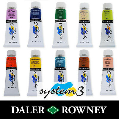 Daler Rowney System 3 Original Acrylic Paint 75ml Tubes | All Colours Available
