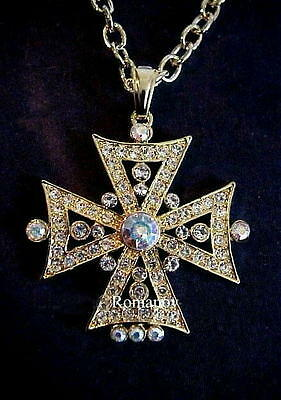 Russian Imperial Empress Alexandra Easter crystal Cross necklace signed:ROMANOV