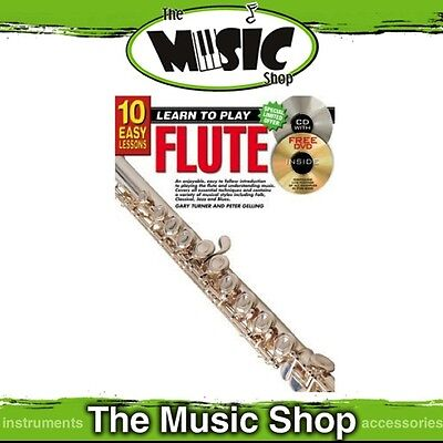 New 10 Easy Lessons Learn to Play Flute Tuition Book with CD & DVD