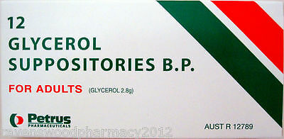 Glycerol Glycerin Suppositories 12 Adult Size::For Fast Relief of Constipation::