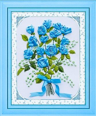 Ribbon Embroidery Kit Blue Rose 40x50cm RE1011